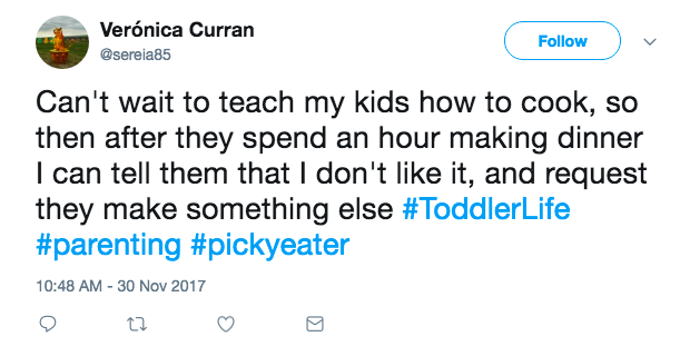 Funniest tweets about picky eaters from hilarious parents on Twitter: Veronica Curran via Twitter