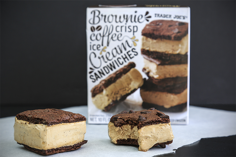 What family-friendly products to buy at Trader Joe's this month: Brownie Crisp Ice Cream Sandwiches | Cool Mom Eats