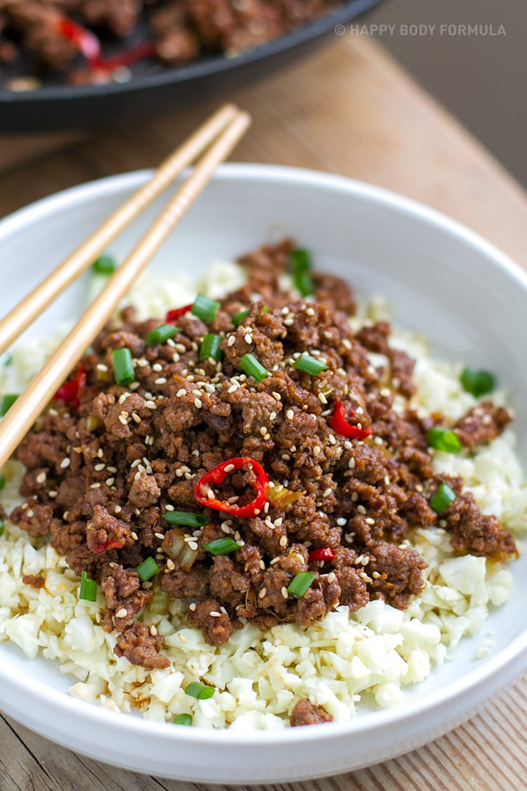 Cool Mom Eats weekly meal plan: 15-Minute Low Carb Korean Beef Bowl | Happy Body Formula