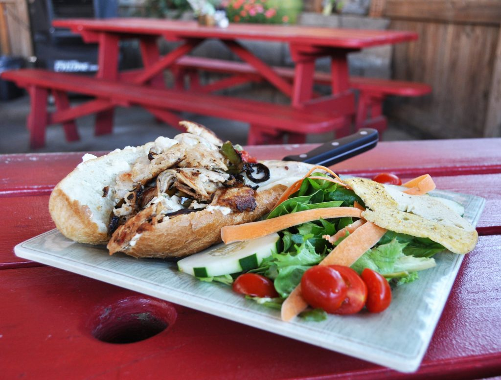 Grilled Chicken and Cheese Sandwich with Fresh Salad