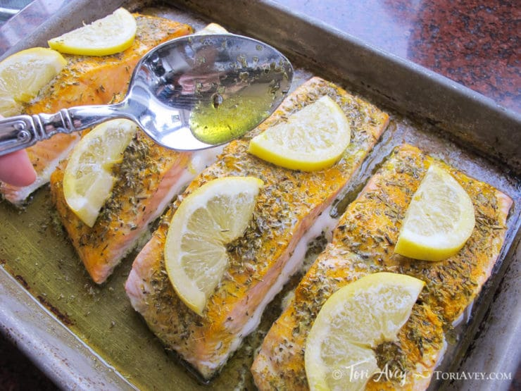 Cool Mom Eats weekly meal plan: Lemon Turmeric Salmon at Tori Avery
