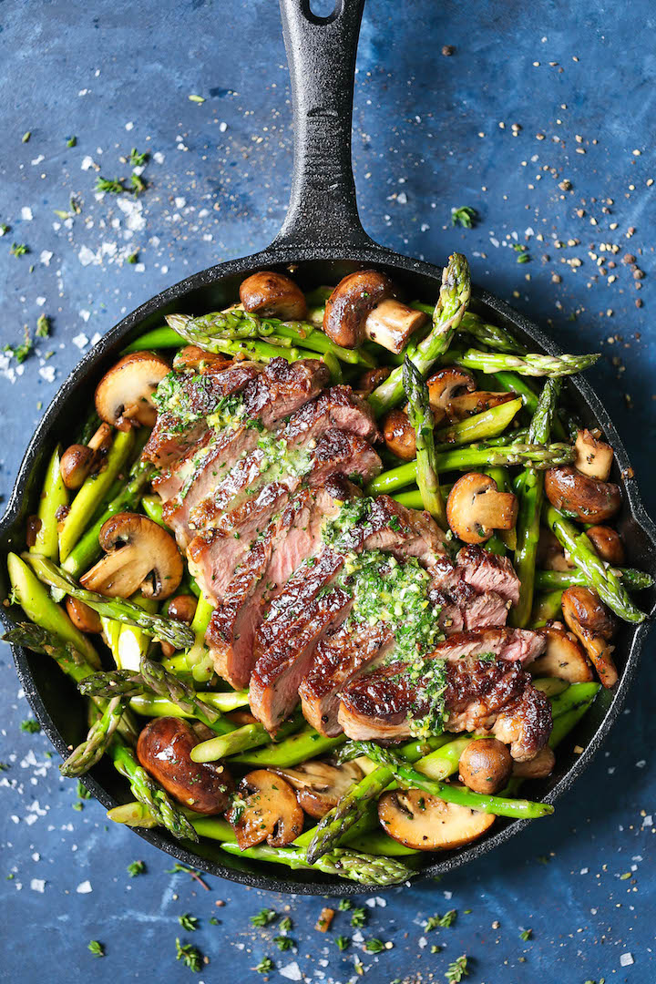 Cool Mom Eats weekly meal plan: One-Pan Steak and Veggies with Garlic and Herb Spread   Damn Delicious