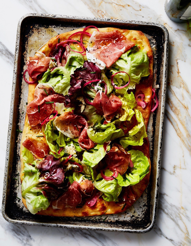Cool Mom Eats weekly meal plan: Salad Pizza by Jenny Rosenstrach | photo by Bobbi Lin for Bon Appetit