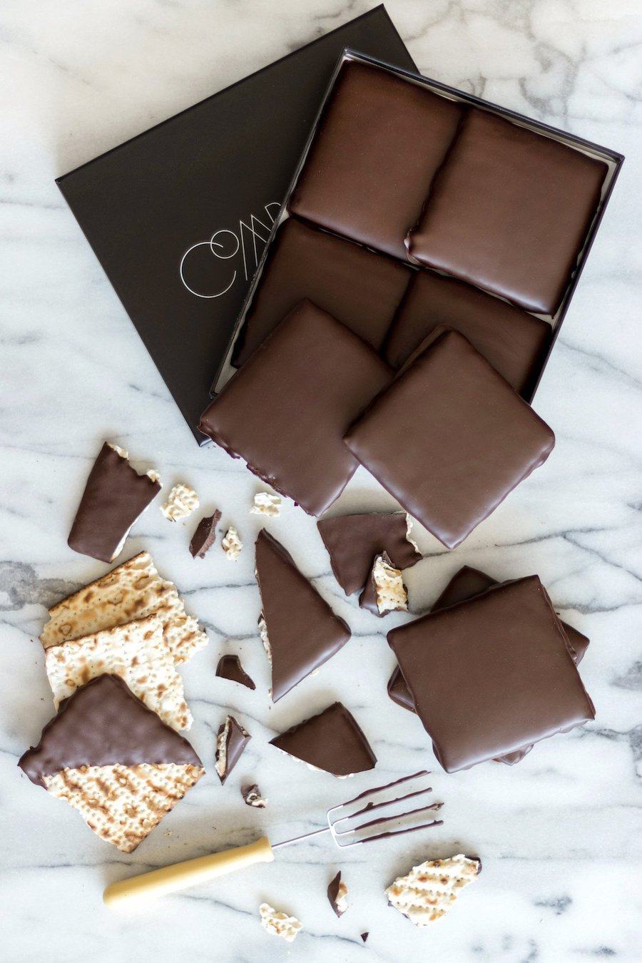 Gourmet Easter candy: chocolate covered Matzah at Compartés