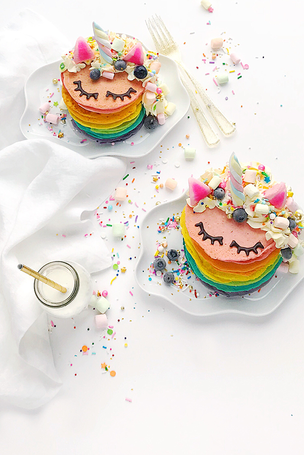 Unicorn Rainbow Pancakes from Hello Wonderful