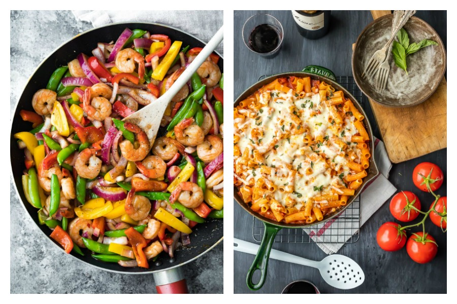 On the latest Cool Mom Eats weekly meal plan, we've got 5 easy, family-friendly recipes for the busy week ahead, including a 15-minute Sweet Chili Shrimp Stir Fry at Sweet Peas and Saffron and a Chicken Parmesan Pasta Skillet at The Cookie Rookie