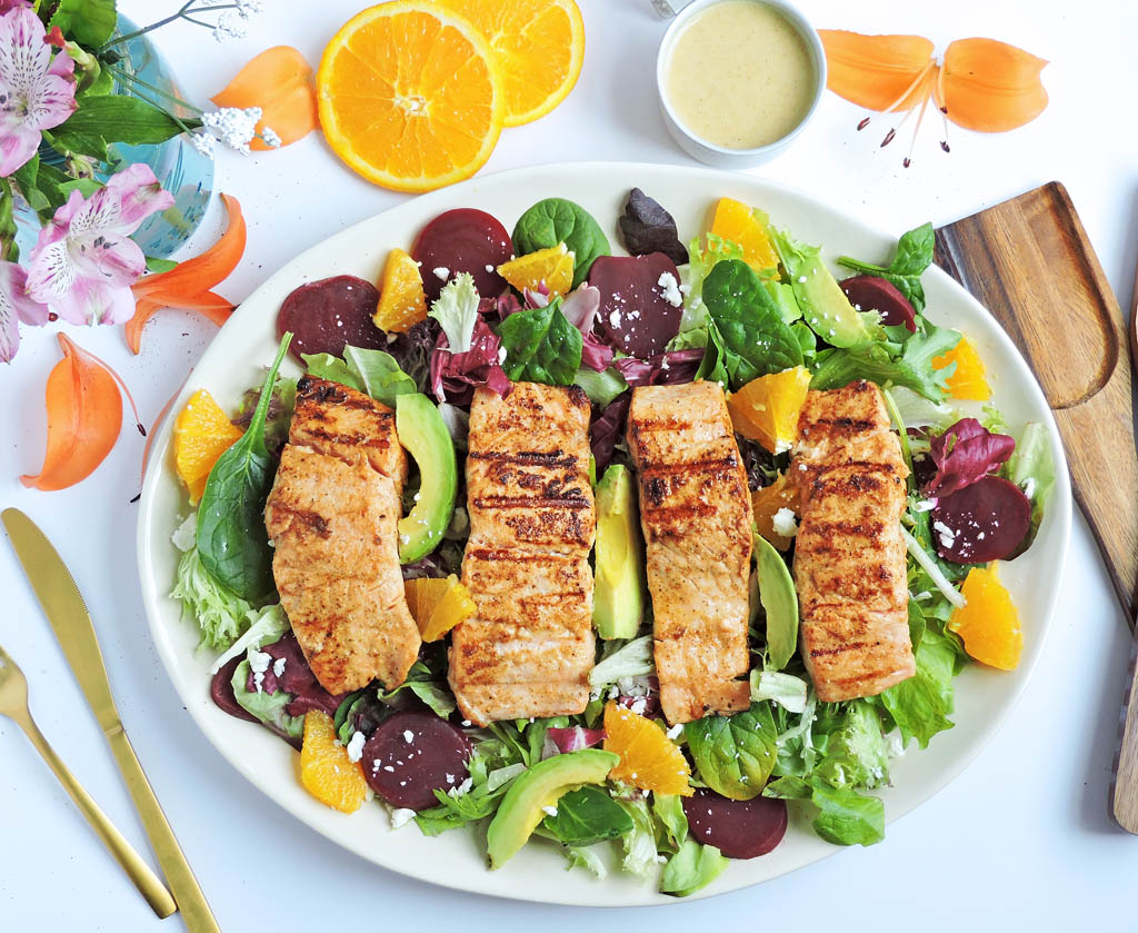 Cool Mom Eats weekly meal plan: Citrus Salmon and Beet Salad at Beautiful Eats and Things