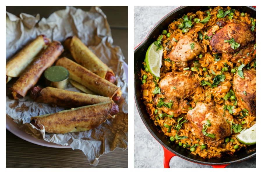 In the latest Cool Mom Eats weekly meal plan, we've got 5 easy, family-friendly dinner recipes for the busy week ahead, including Crispy Dogs at Sweet Life and Mama's Arroz con Pollo at Ambitious Kitchen
