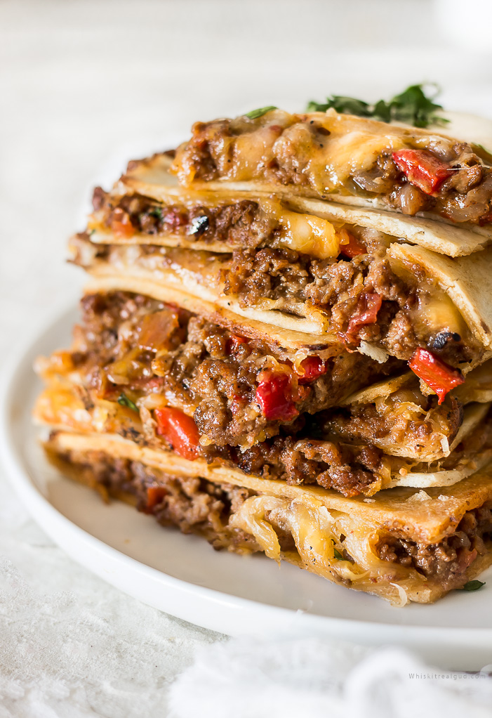 Cool Mom Eats weekly meal plan: Sheet Pan Cheesy Beef Quesadillas at Whisk It Real Gud