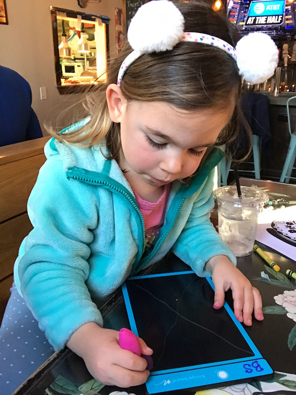 Eating out with little kids: The one toy I can't leave home without.   © Jane Sweeney Cool Mom Eats