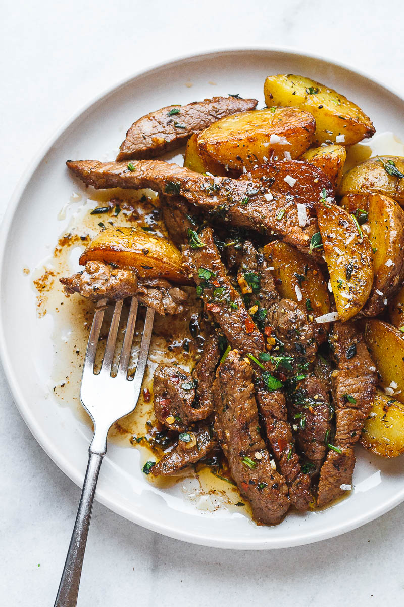 Cool Mom Eats weekly meal plan: Garlic Butter Steak and Potatoes Skillet at Eatwell 101
