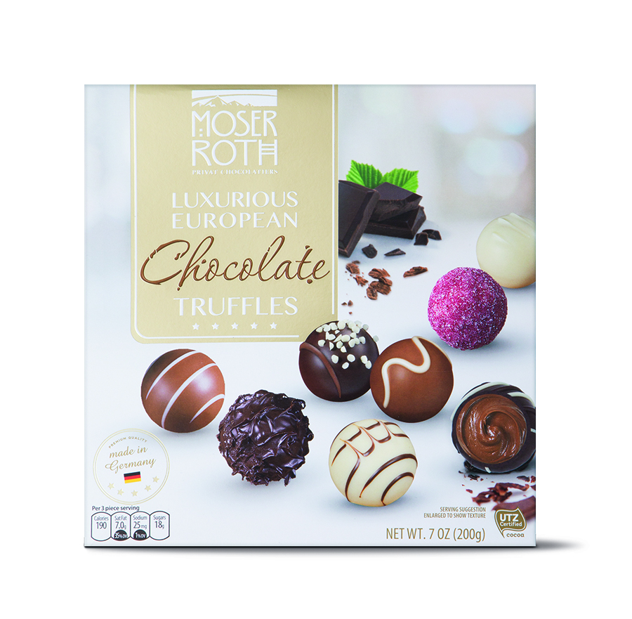 Mother's Day finds we love for under $10 at Aldi: Moser Roth Luxurious European Chocolate Truffles. Because affordable, totally delicious chocolate truffles in 16 different flavors. This is a Mother's Day gift no-brainer! | Cool Mom Eats