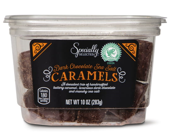 Mother's Day finds we love for under $10 at Aldi: Dark Chocolate Covered Sea Salt Caramels make the perfect addition to a dessert spread for any celebratory Mother's Day gathering. Just buy extra containers to give to any mama guest of honors, because believe us -- once they eat one for dessert, they're going to want more to take home. | Cool Mom Eats