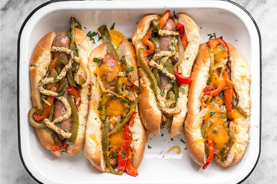 Roasted Bratwurst With Peppers and Onions at Budget Bytes