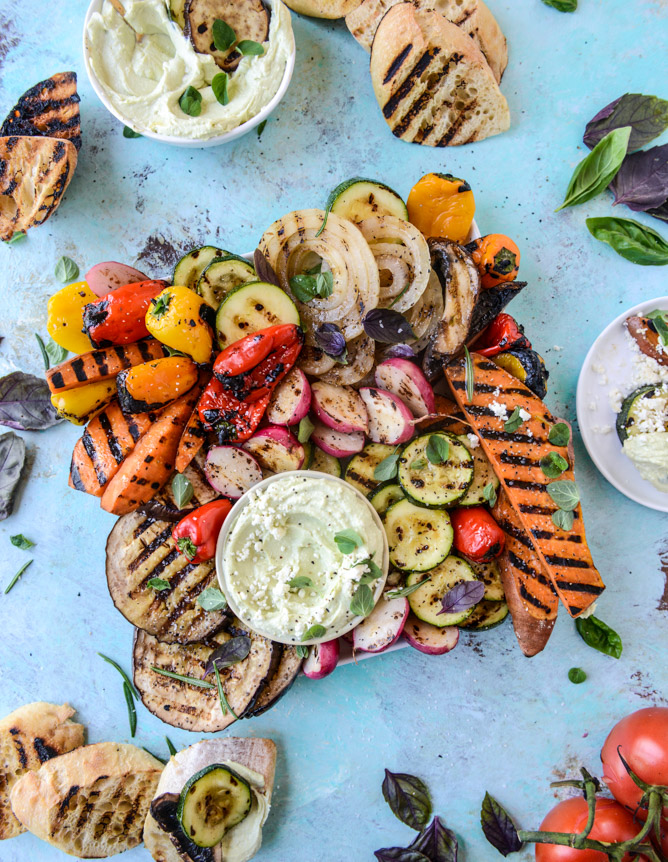 30-minute marinades: Marinated Grilled Veggies with Avocado Whipped Feta | How Sweet Eats