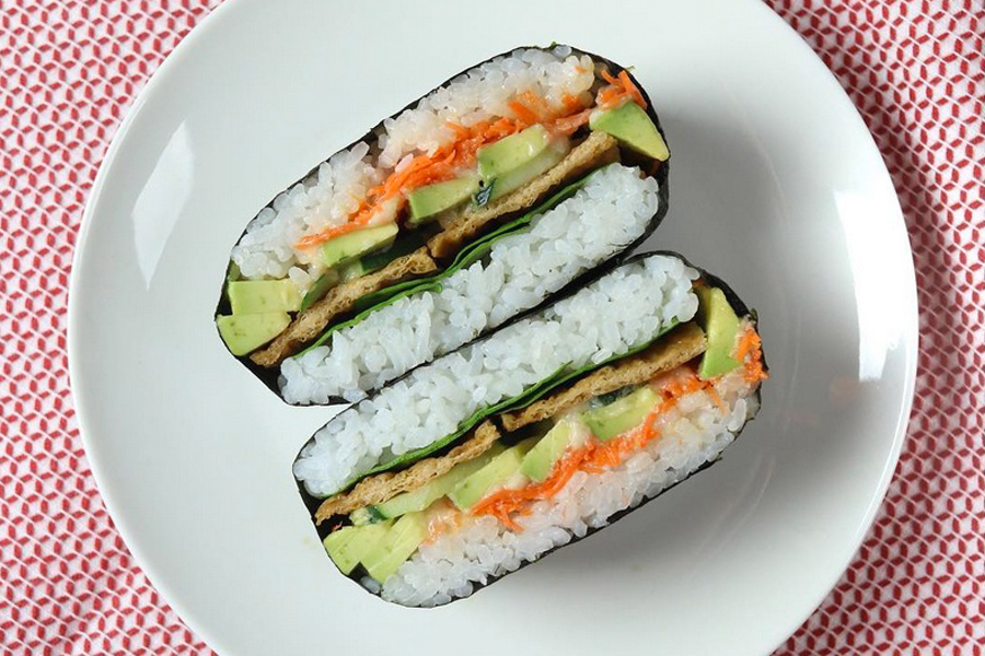 Japanese sushi sandwiches called onigirazu at Whole Foods
