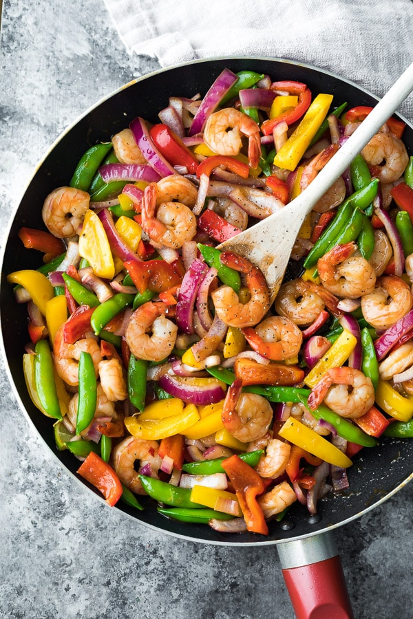 Cool Mom Eats weekly meal plan: 15-minute Sweet Chili Shrimp Stir Fry at Sweet Peas and Saffron