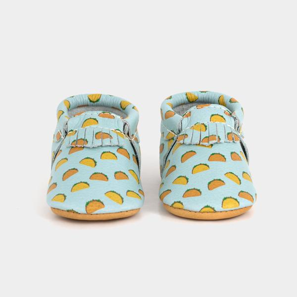 Taco baby mocs by Freshly Picked | foodie baby gifts