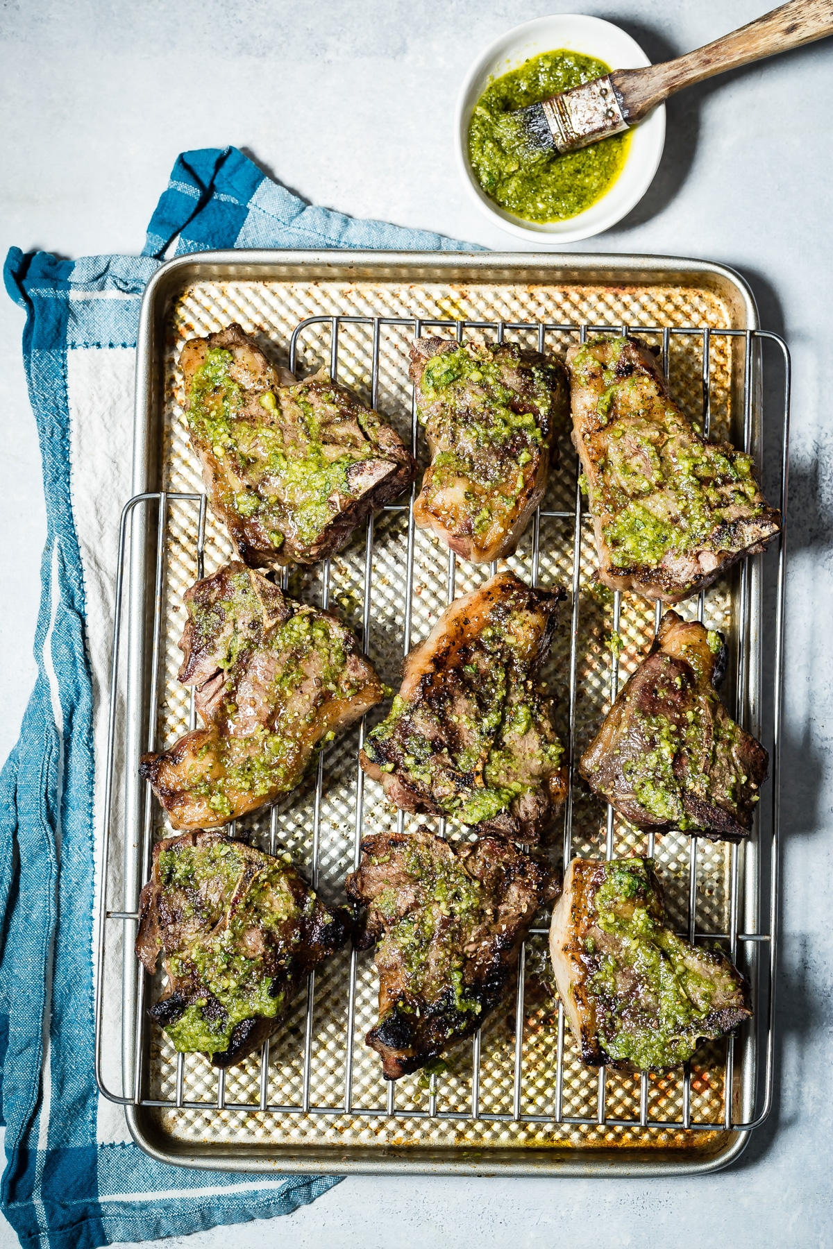 Cool Mom Eats weekly meal plan: Grilled Lamb Loin Chops with Mint Pesto at Foodness Gracious