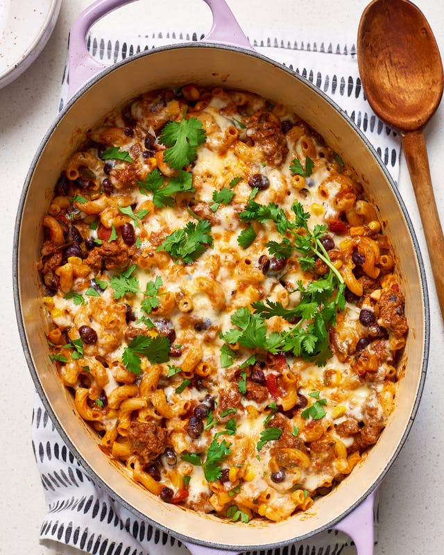 Cool Mom Eats weekly meal plan: One Pot Cheesy Taco Pasta at Kitchn | Photo by Joe Lingeman