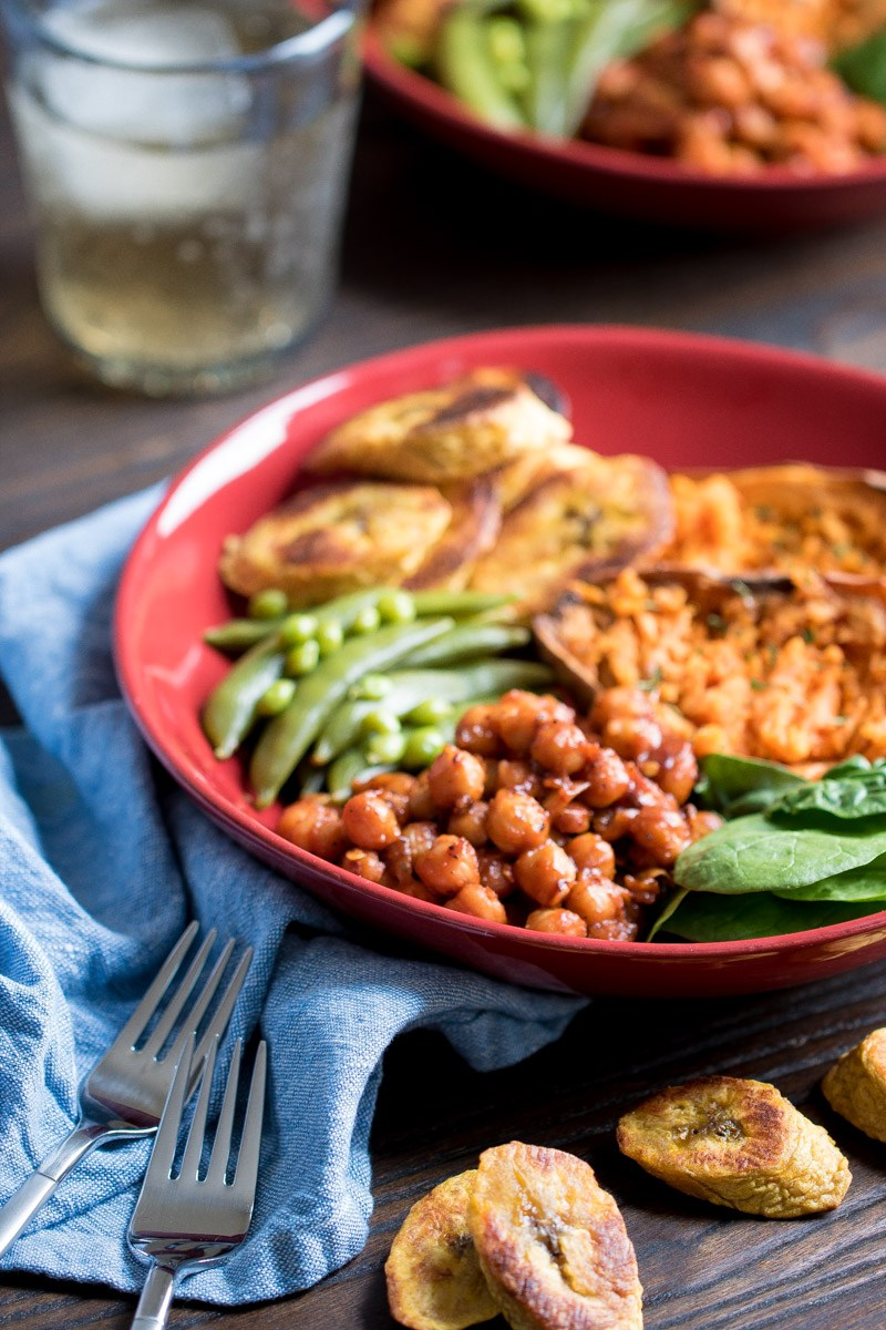 Cool Mom Eats weekly meal plan: Roasted Plaintain and BBQ Chickpea Vegan Bowl at Orchids and Sweet Tea