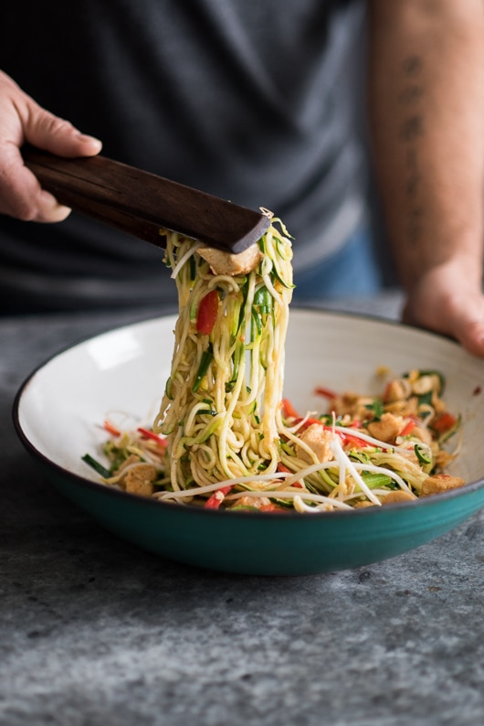 Cool Mom Eats weekly meal plan: Chicken Zucchini Noodle Pad Thai recipe at White On Rice Couple