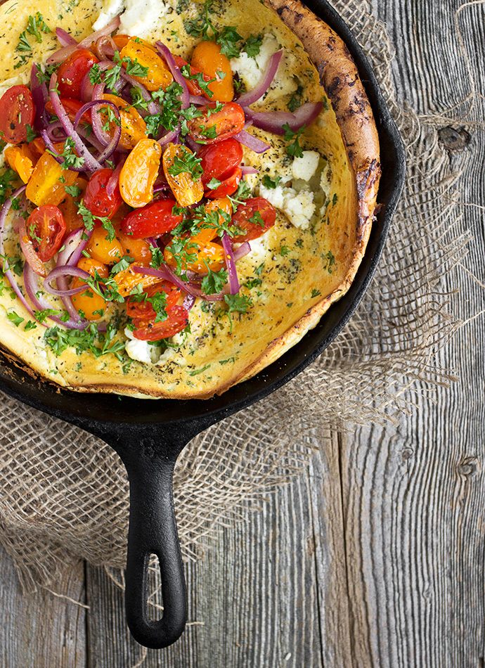 Cool Mom Eats weekly meal plan: Goat Cheese and Tomato Dutch Baby | Seasons and Suppers