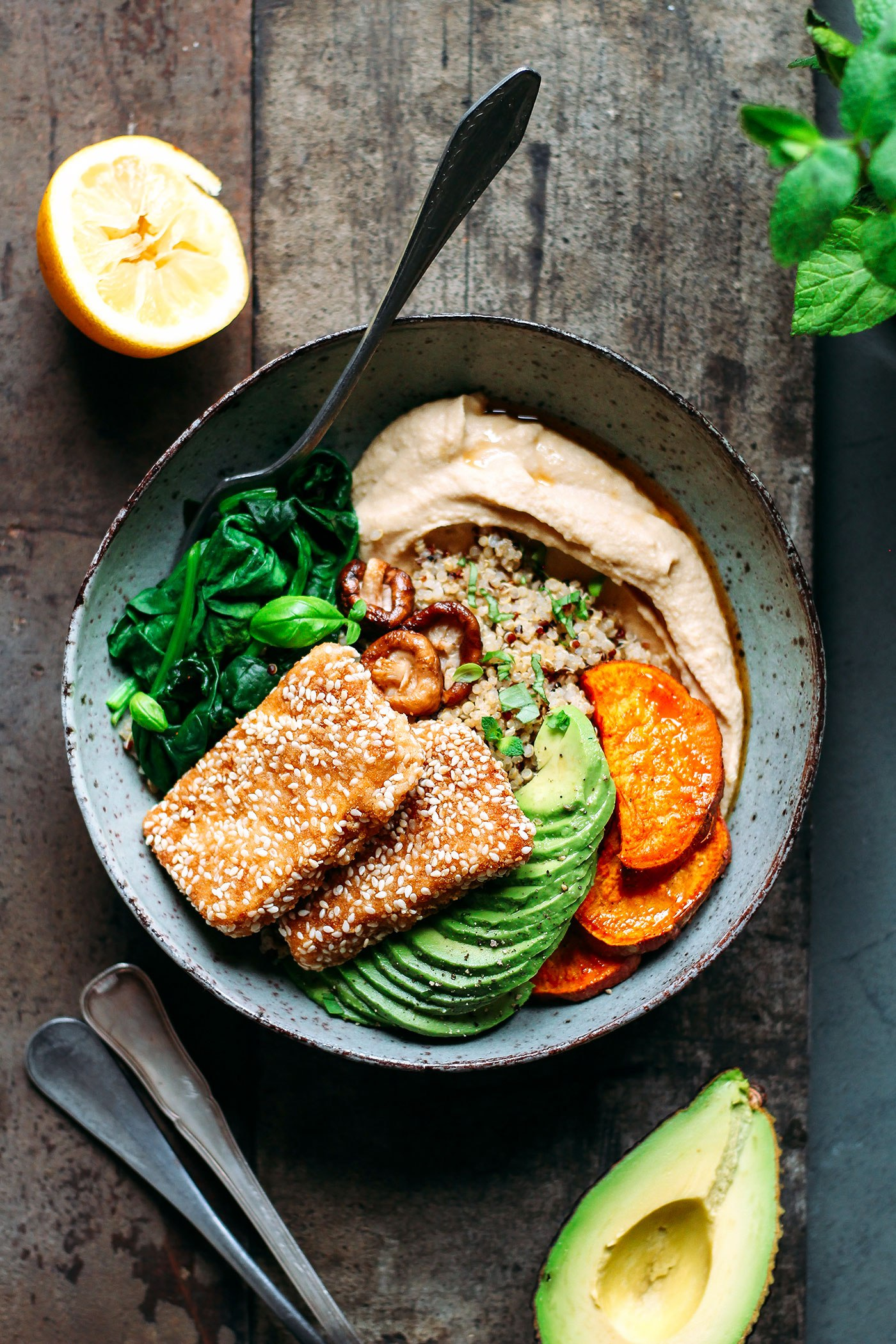 Cool Mom Eats weekly meal plan: Sesame Crusted Hoisin Crusted Tofu Buddha Bowls at Full of Plants