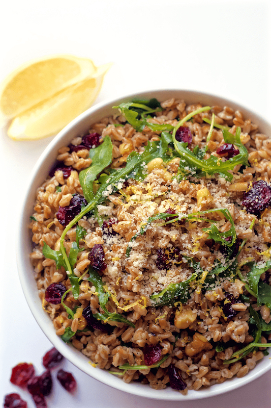 Best Mother's Day picnic recipes: Citrus Farro and Arugula Salad with Walnuts and Cranberries | Family Food On The Table
