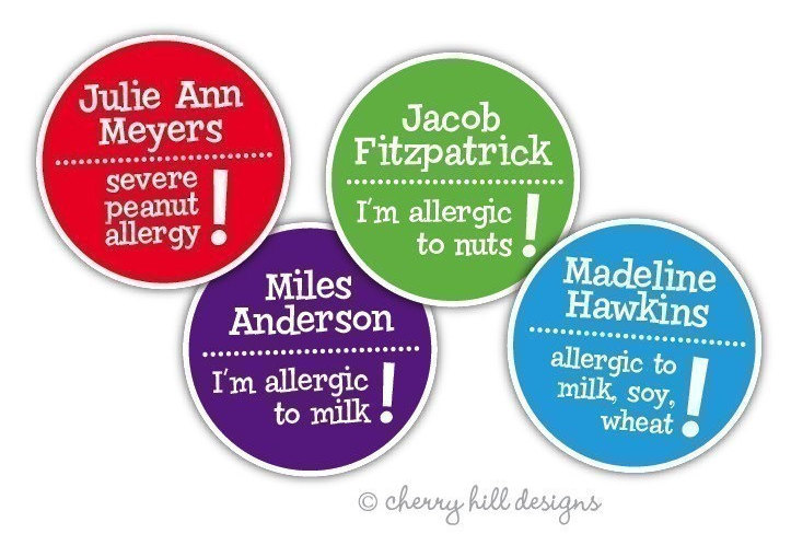 Custom food allergy labels: Personalize your own at Cherry Hill Designs on Etsy