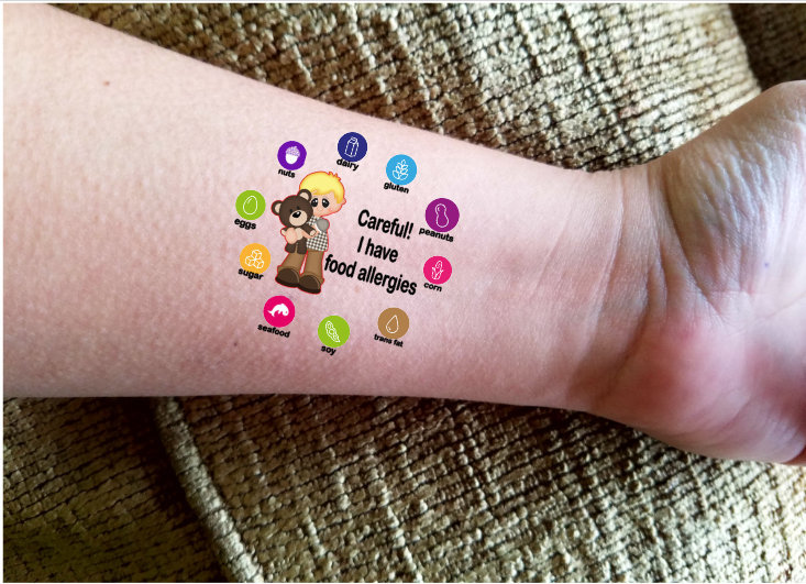 Custom food allergy labels: Temporary tattoos at Katartic