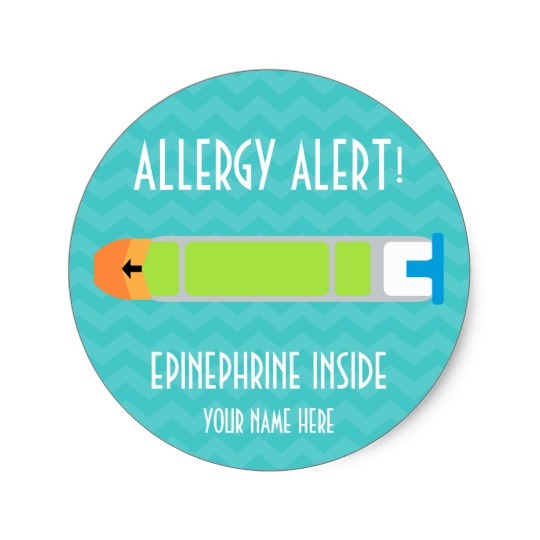 Custom food allergy labels: EpiPen ID labels at Zazzle