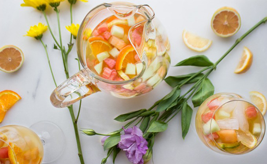 Make ahead Mother's Day brunch recipes: Sparkling Melon and Citrus Sangria from Our Food Fix