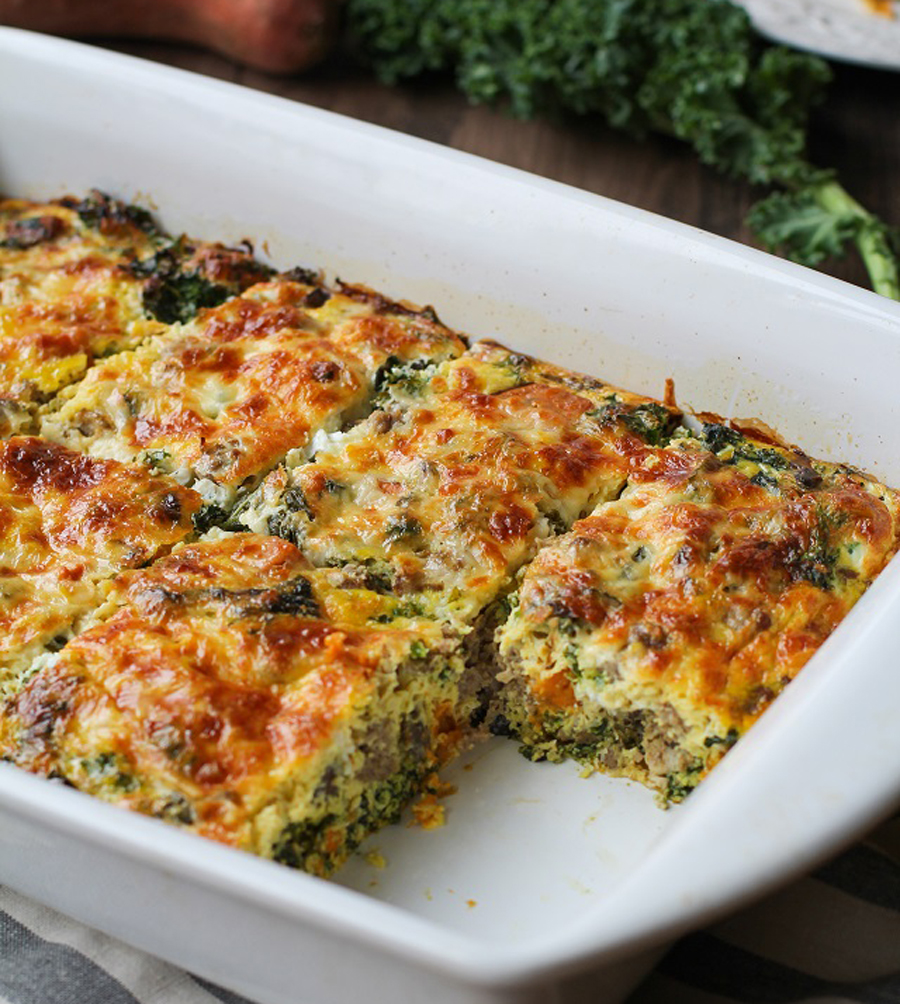 Make ahead Mother's Day brunch recipes: Sweet Potato, Sausage and Kale Breakfast Casserole at The Roasted Root