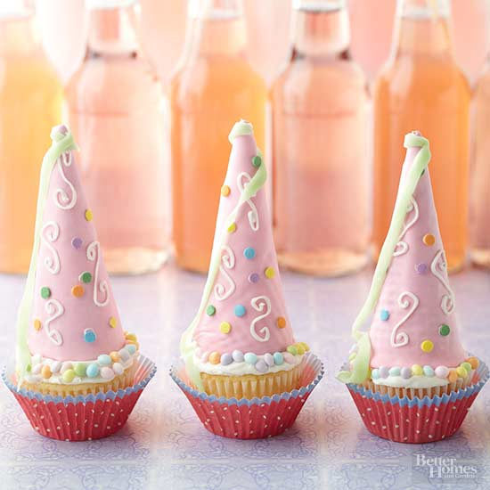 Princess cupcakes recipe from BH&G uses cones as the base for a medieval princess crown