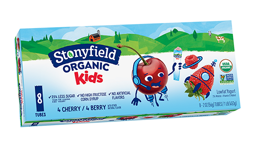 Best low-sugar popsicle brands: Stonyfield Organic Kids yogurt tubes aren't classic popsicles, but a good stand-in with a little protein too
