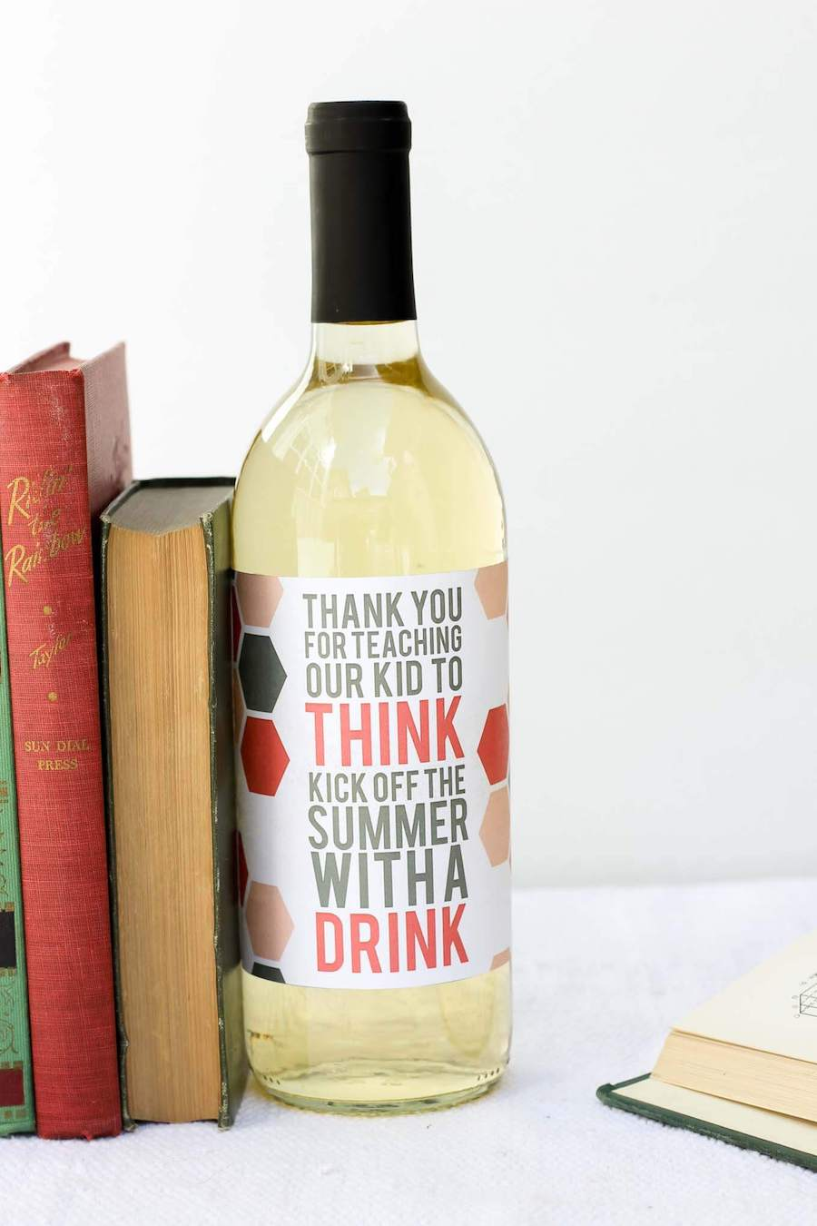 Teacher appreciation food gift idea: Wine bottle printable at Make and Do Crew