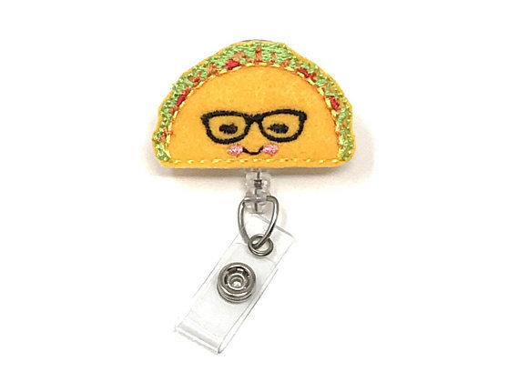 Teacher appreciation food gift idea: Taco badge reel at Carolina Street + some chips and a favorite salsa