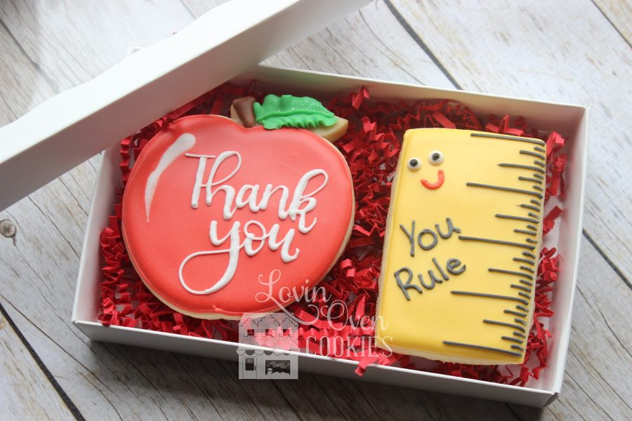 Teacher appreciation food gift idea: Custom cookies from Lovin Oven Cookies
