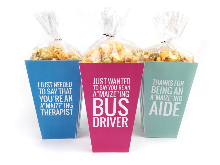 Teacher appreciation food gift idea: Popcorn boxes at Simple Everyday Mom