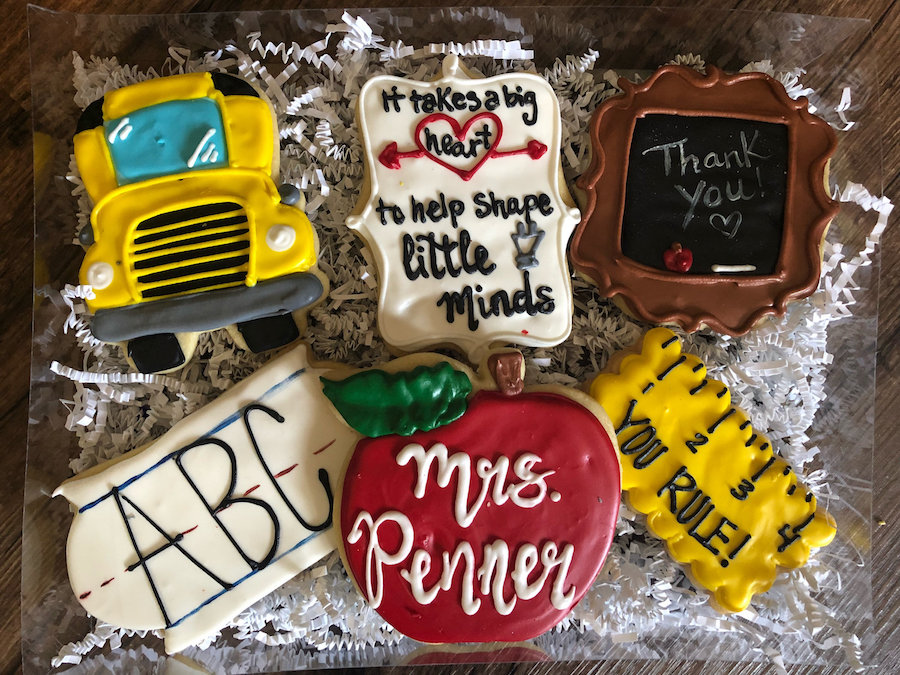 Teacher appreciation food gift idea: large cookie box from Crows Custom Cookies