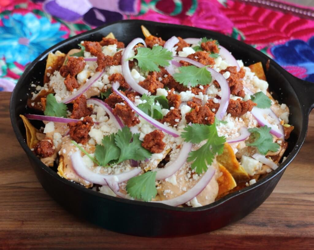 Cool Mom Eats weekly meal plan: Chilaquiles with Beef Chorizo and Chipotle Crema at Lola's Cocina