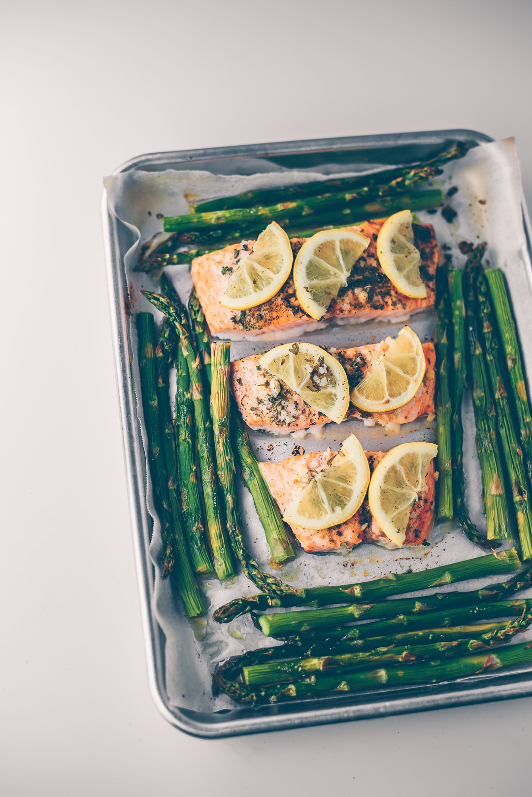 Cool Mom Eats weekly meal plan: One Pan Lemon Roasted Salmon and Asparagus at Mash and Spread