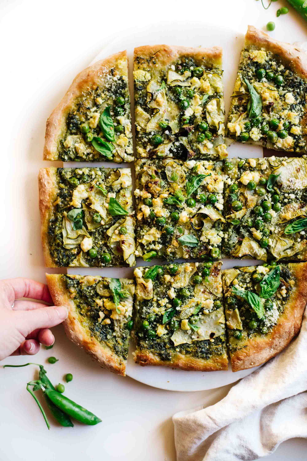 Cool Mom Eats weekly meal plan: Green Goddess Pesto Pizza at Kale and Caramel