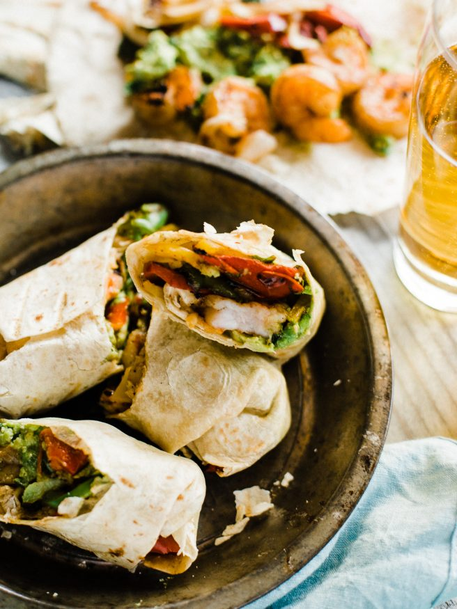 Cool Mom Eats weekly meal plan: Grilled Shrimp Fajita Wraps at Dad With A Pan
