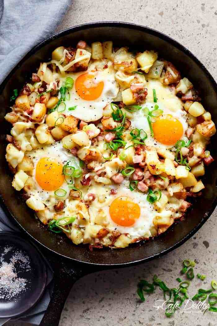 Simple camping recipes: Cheese bacon and egg hash at Cafe Delites