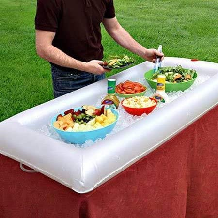 Chilled inflatable buffet salad bar helps stash ice to keep cold food safe to eat in the summer