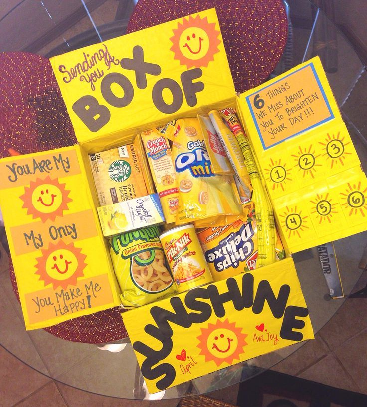 Creative camp care packages: Go with a theme, like this all-yellow Box of Sunshine at Fantabulosity