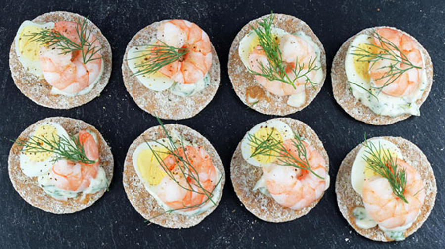 Swedish fika tea party recipes:  Prawn and Egg Canapés from Swedishfood.com