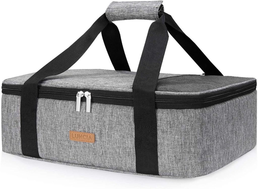 Insulated casserole carrier to keep food for cookouts and potlucks safe in the summer -- hot or cold